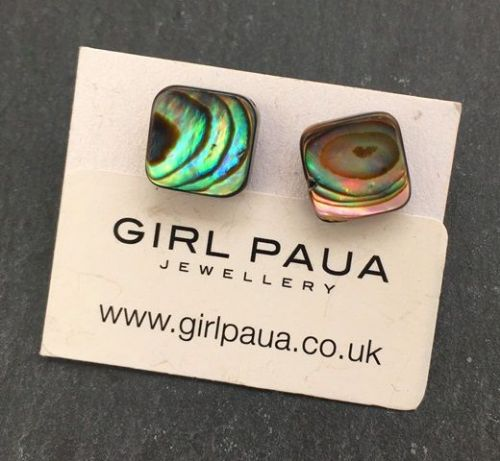 Paua Stud Earrings PE04 Square Natural Small